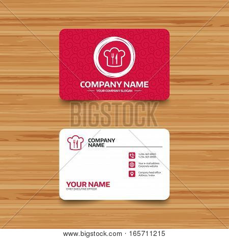 Business card template with texture. Chef hat sign icon. Cooking symbol. Cooks hat with fork and knife. Phone, web and location icons. Visiting card  Vector