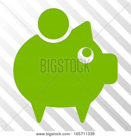 Eco Green Piggy Bank interface toolbar pictogram. Vector pictograph style is a flat symbol on diagonally hatched transparent background.
