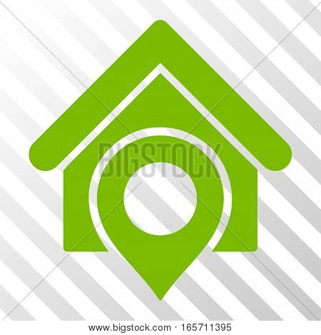 Eco Green Realty Location interface toolbar pictogram. Vector pictograph style is a flat symbol on diagonal hatch transparent background.