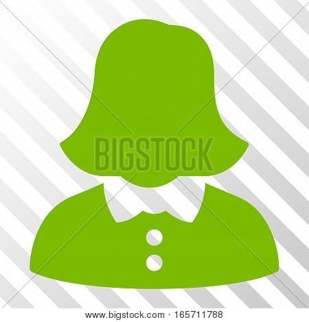 Eco Green Woman interface toolbar pictogram. Vector pictogram style is a flat symbol on diagonally hatched transparent background.
