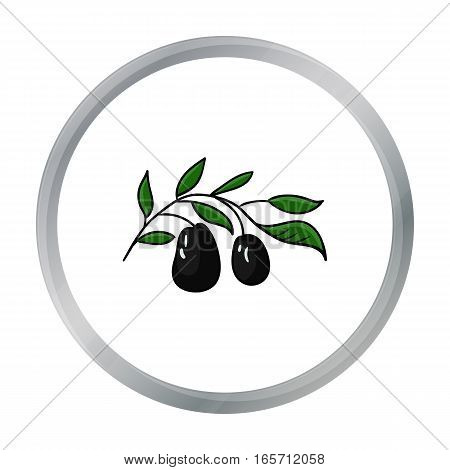Italian olives from Italy icon in cartoon style isolated on white background. Italy country symbol vector illustration.