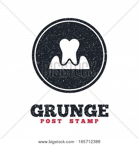 Grunge post stamp. Circle banner or label. Parodontosis tooth icon. Gingivitis sign. Inflammation of gums symbol. Dirty textured web button. Vector