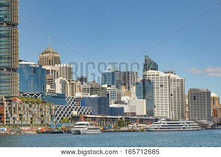 SYDNEY AUSTRALIA - OCTOBER 11 2016: Darling Harbour in Sydney Australia and commercial property development.