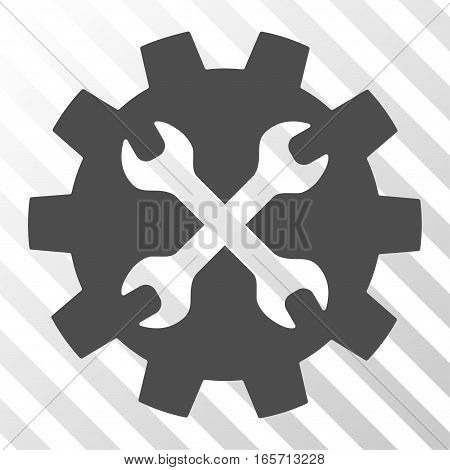 Gray Tools toolbar icon. Vector pictograph style is a flat symbol on diagonal hatch transparent background.