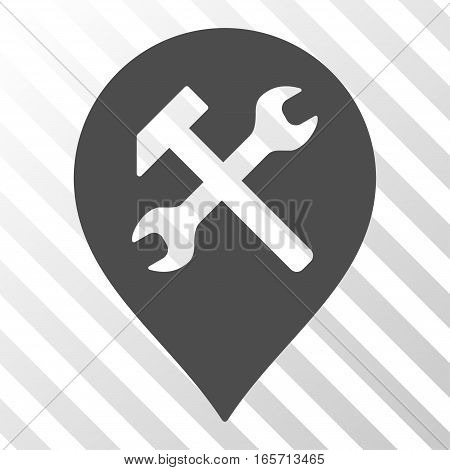 Gray Workshop Map Marker interface toolbar icon. Vector pictogram style is a flat symbol on diagonal hatch transparent background.