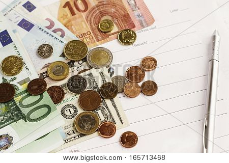 Money Pen Paper  On White Background, Calculating Budget, Currency Balance, Financial Analytics Conc