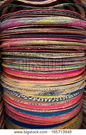 colourful hat pile in the Otavalo market in Ecuador