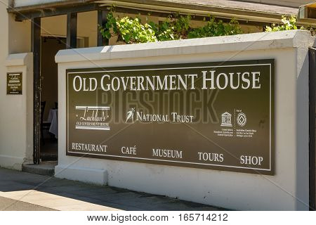 PARRAMATTA AUSTRALIA - OCTOBER 11 2016: Entrance to Old Government House Parramatta New South Wales Australia. The house is located in Parramatta Park.