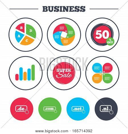Business pie chart. Growth graph. Top-level internet domain icons. De, Com, Net and Nl symbols with hand pointer. Unique national DNS names. Super sale and discount buttons. Vector