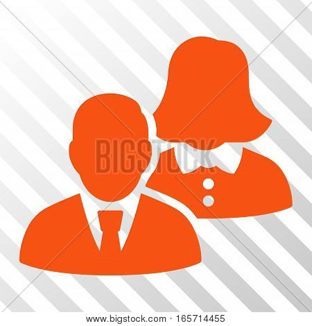 Orange People interface toolbar pictogram. Vector pictograph style is a flat symbol on diagonally hatched transparent background.