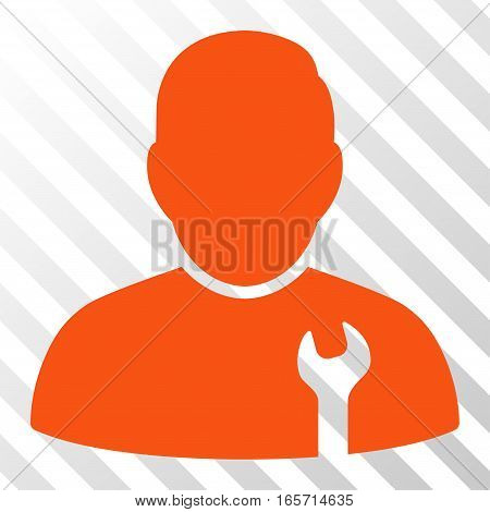 Orange Serviceman toolbar icon. Vector pictograph style is a flat symbol on diagonal hatch transparent background.