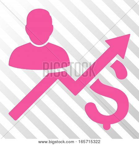Pink Client Sales Chart interface icon. Vector pictogram style is a flat symbol on diagonal hatch transparent background.