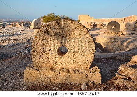 Old millstones in Alicante Santa Barbara castle