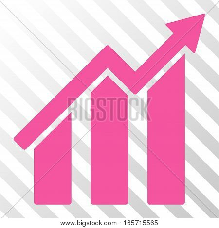 Pink Growth Chart interface icon. Vector pictograph style is a flat symbol on diagonal hatch transparent background.