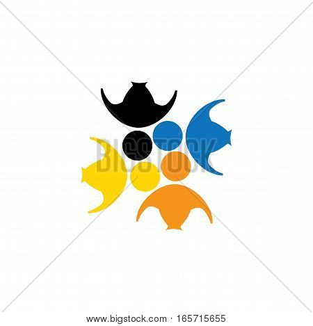 vector logo icon of friendship dependence empathy bonding. this also represents concepts like responsibility concern care together sympathy trust faith hope & expectation assurance poster