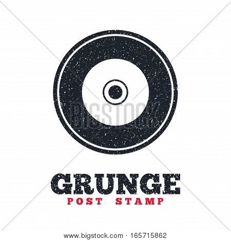 Grunge post stamp. Circle banner or label. CD or DVD sign icon. Compact disc symbol. Dirty textured web button. Vector