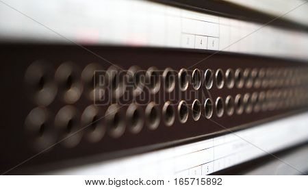 Telecommunication Equipment, Main Distribution Frame with Cables line, Closeup