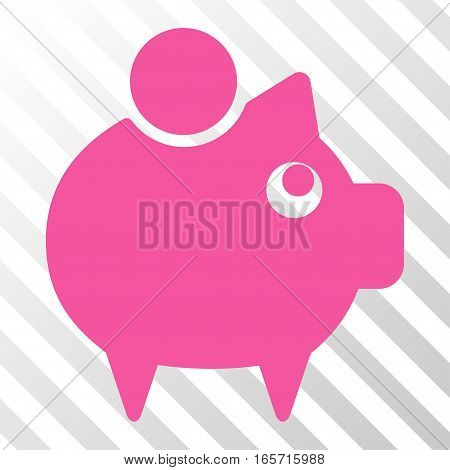 Pink Piggy Bank interface pictogram. Vector pictograph style is a flat symbol on diagonally hatched transparent background.