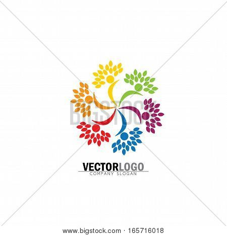 Friendship, Bonding, Together Organic People Logo Circle, Tree Logo, Vector Logo Template