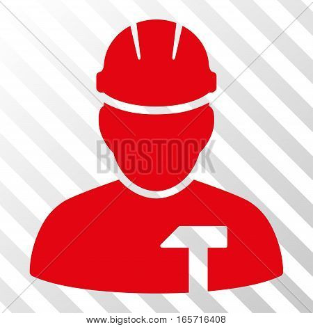 Red Builder Person interface icon. Vector pictograph style is a flat symbol on diagonal hatch transparent background.