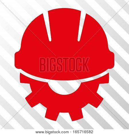 Red Development toolbar icon. Vector pictograph style is a flat symbol on diagonally hatched transparent background.