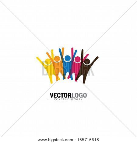 friendship and bonding vector logo icon in trendy flat style isolated on white background. buddies symbol group of friends excited jumping in joy having fun