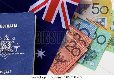 An Australian passport, some money and a flag.