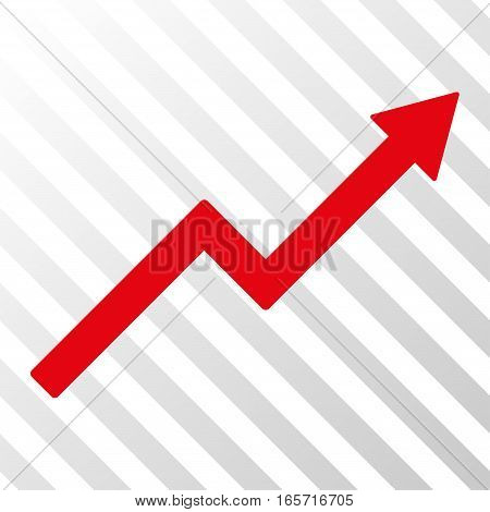 Red Growth Trend Chart interface toolbar icon. Vector pictogram style is a flat symbol on diagonal hatch transparent background.