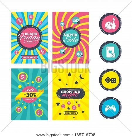 Sale website banner templates. Bowling and Casino icons. Video game joystick and playing card with dice symbols. Entertainment signs. Ads promotional material. Vector
