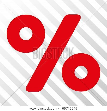 Red Percent interface toolbar icon. Vector pictogram style is a flat symbol on diagonal hatch transparent background.