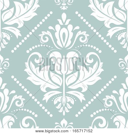 Oriental vector classic light blue and white pattern. Seamless abstract background with repeating elements. Orient background