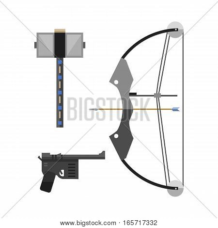 Crossbow arbalest strained equipment vector illustration. Retro history weapon isolated on white background. Medieval antique archery projectile symbol.