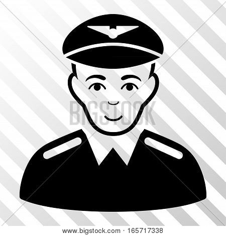 Black Aviator interface toolbar pictogram. Vector pictograph style is a flat symbol on diagonally hatched transparent background.