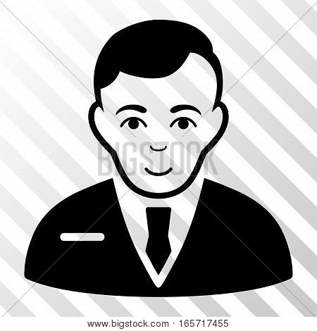 Black Businessman interface toolbar pictogram. Vector pictogram style is a flat symbol on diagonally hatched transparent background.