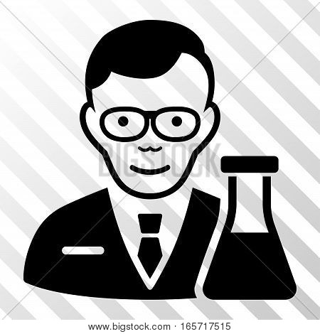 Black Chemist interface pictogram. Vector pictograph style is a flat symbol on diagonal hatch transparent background.