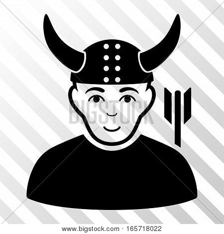 Black Horned Warrior interface pictogram. Vector pictogram style is a flat symbol on diagonal hatch transparent background.