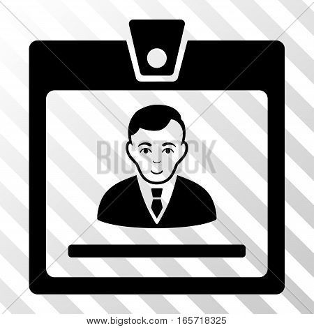 Black Manager Badge toolbar icon. Vector pictogram style is a flat symbol on diagonal hatch transparent background.