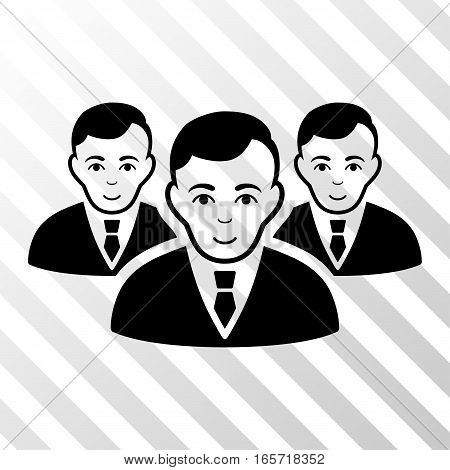 Black Manager Group interface pictogram. Vector pictograph style is a flat symbol on diagonally hatched transparent background.