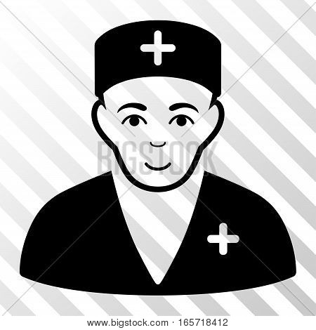 Black Medic toolbar icon. Vector pictograph style is a flat symbol on diagonally hatched transparent background.