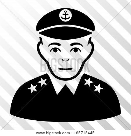 Black Military Captain interface toolbar pictogram. Vector pictograph style is a flat symbol on diagonally hatched transparent background.