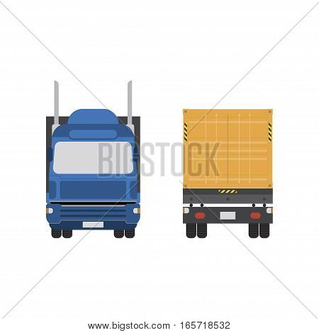 Big truck with container vector illustration on white background. View the front and rear.