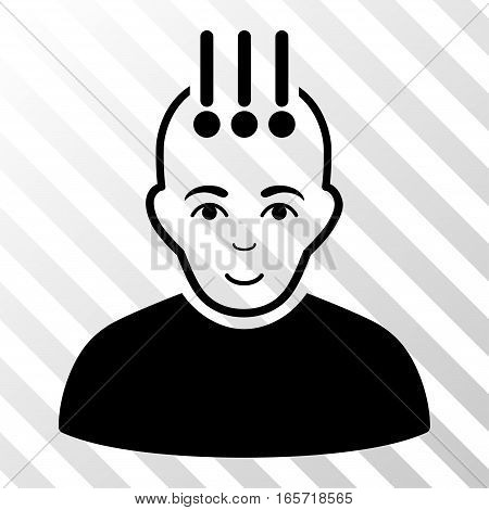 Black Neural Interface toolbar icon. Vector pictograph style is a flat symbol on diagonally hatched transparent background.