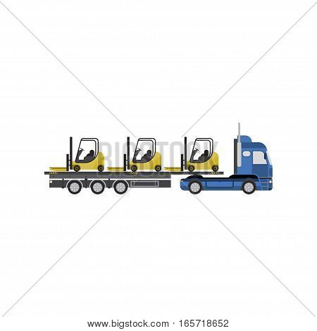 Big truck with forklift vector illustration on white background. View the side.