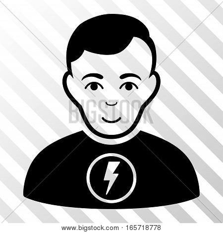 Black Power Man interface pictogram. Vector pictogram style is a flat symbol on diagonally hatched transparent background.