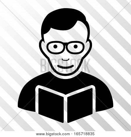 Black Reader toolbar icon. Vector pictogram style is a flat symbol on diagonal hatch transparent background.