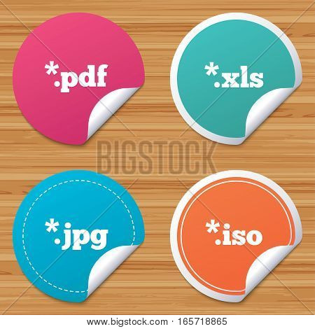Round stickers or website banners. Document icons. File extensions symbols. PDF, XLS, JPG and ISO virtual drive signs. Circle badges with bended corner. Vector