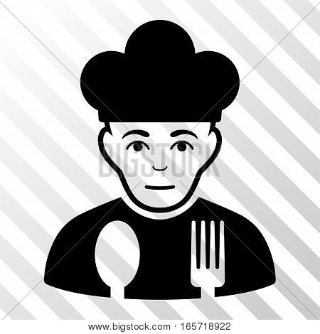 Black Sad Cook interface toolbar icon. Vector pictogram style is a flat symbol on diagonal hatch transparent background.