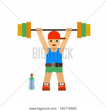 Caucasian man lifting a heavy weight barbell. Sportsman doing exercise over his head. Male weightlifter holding tool. Vector flat design illustration.