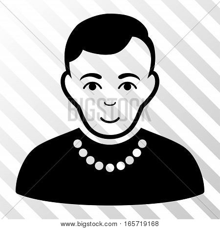Black Trendy Guy interface pictogram. Vector pictograph style is a flat symbol on diagonal hatch transparent background.