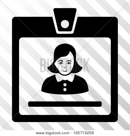 Black Woman Badge interface icon. Vector pictogram style is a flat symbol on diagonal hatch transparent background.